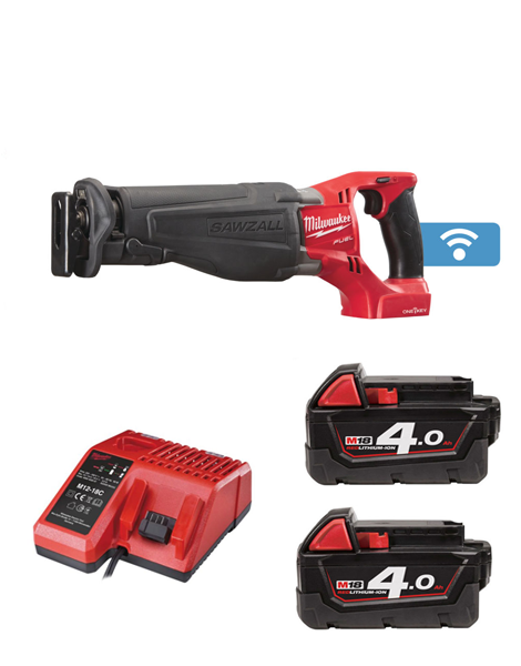 MILWAUKEE M18ONESX-402 18V ONE KEY FUEL SAWZALL 2 x 4AMH BATTERIES + CHARGER