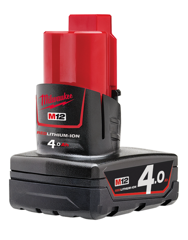 Milwaukee M12B4 12v 4.0ah RED Fuel Lithium Ion Battery
