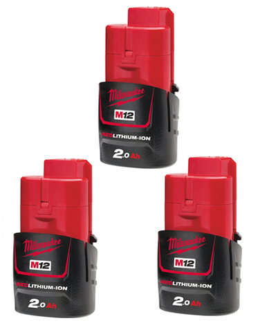 Milwaukee M12B2 12v 2.0ah M12 Red Lithium Ion Contractors 3 Batteries
