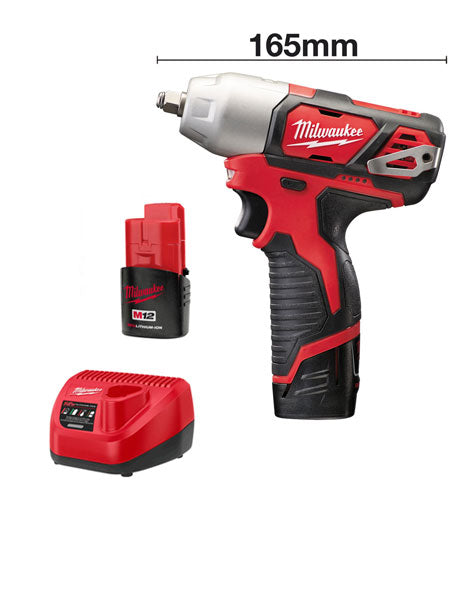 Milwaukee M12BIW38-202c 12v Brushed M12 Impact Wrench 3/8 2 x 2amh Batteries Charger