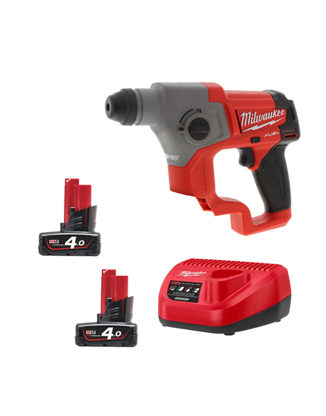 Milwaukee M12CH-402C New Fuel Brushless 12v SDS+ Hammer Drill 2 x 4AMH Batteries Charger