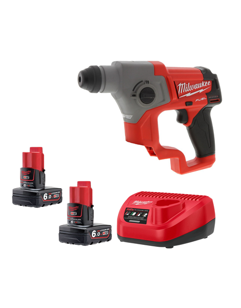 Milwaukee M12CH-602C New Fuel Brushless 12v SDS+ Hammer Drill 2 x 6AMH Batteries Charger