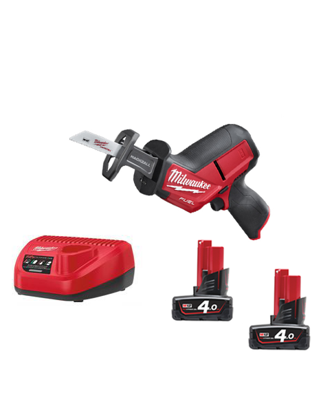 Milwaukee M12CHZ-402 12v Fuel HackZall Reciprocating Saw 2 x 4amh Batteries Charger