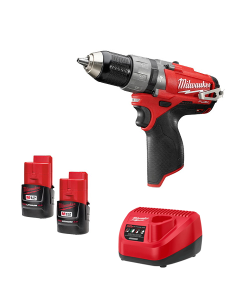 Milwaukee M12CPD-202C 12v M12 Fuel Brushless Hammer Drill  2 x 2amh Batteries Charger