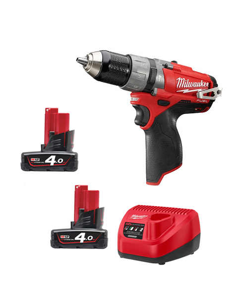 Milwaukee M12CPD-402C 12v M12 Fuel Brushless Hammer Drill  2 x 4amh Batteries Charger