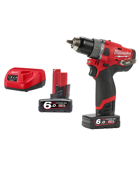 Milwaukee M12FPD-602C  M12 Fuel Brushless Hammer Drill  2 x 6amh Batteries Charger.