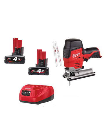Milwaukee M12JS-402C 12v Li-ion Cordless Compact Jigsaw 2 x 4amh Battery Charger