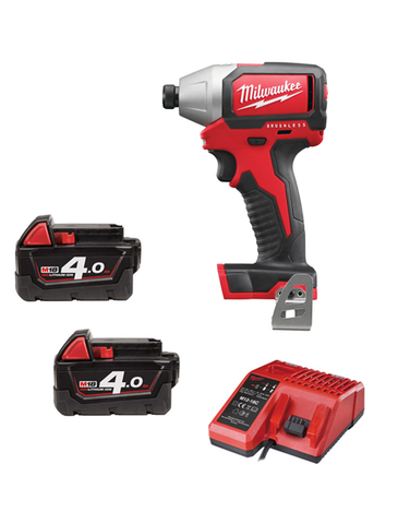 MILWAUKEE M18BLID-402 18V COMPACT BRUSHLESS IMPACT DRIVER 2 x 4amh Batteries Charger