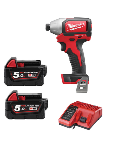 MILWAUKEE M18BLID-502 18V COMPACT BRUSHLESS IMPACT DRIVER 2 x 5amh Batteries Charger