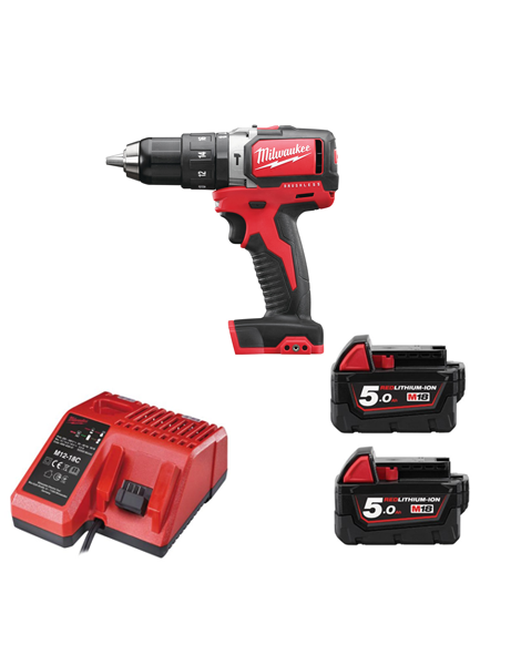Milwaukee M18BLPD-502 18v Compact Brushless Percussion Drill 2 x 5amh Batteries Charger