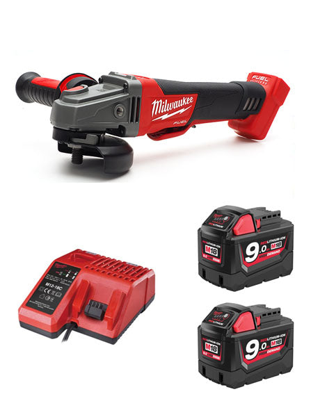 Milwaukee M18CAG115XPDB-902C 18v 115mm WORLD FIRST FUEL BREAKING ANGLE GRINDER 2 x 9amh Batteries Charger