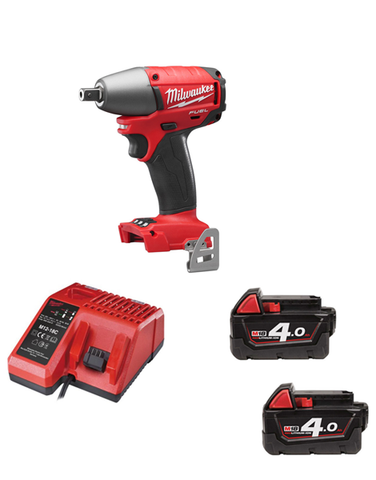"Milwaukee 18v Fuel Brushless 1/2"" Drive Impact Wrench M18CIW12-402 2 x 4amh Batteries Charger"