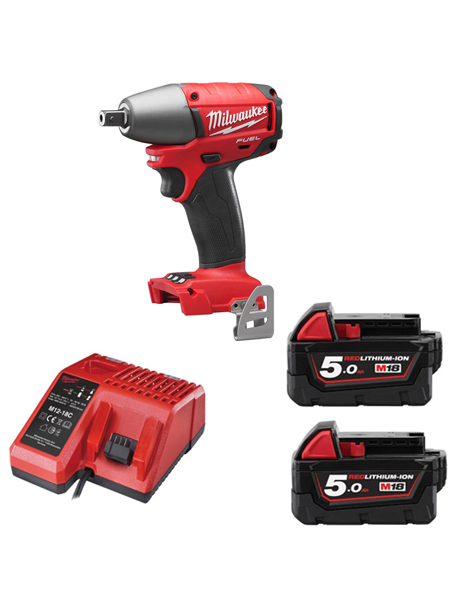 "Milwaukee 18v Fuel Brushless 1/2"" Drive Impact Wrench M18CIW12-502 2 x 5amh Batteries Charger"