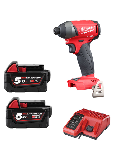 Milwaukee M18FID-502 18v Next Gen Fuel Impact Driver 2 x 5amh Battery Charger