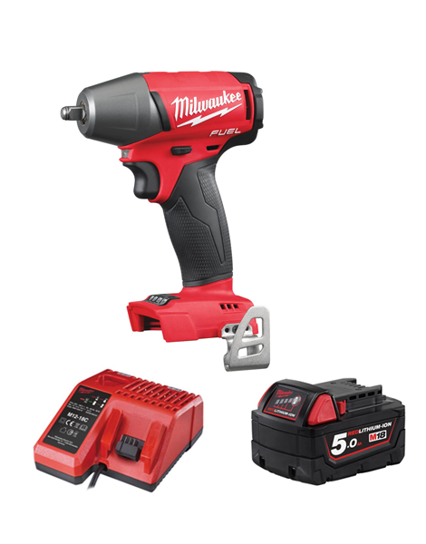 MILWAUKEE M18FIWF12-501 FUEL 2 18V 1/2 INCH IMPACT WRENCH 1 X 5AMH BATTERY CHARGER