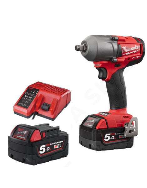 MILWAUKEE M18FMTIWF12-502 FUEL  18V 1/2 INCH MID TORQUE IMPACT WRENCH 2 X 5AMH BATTERIES CHARGER