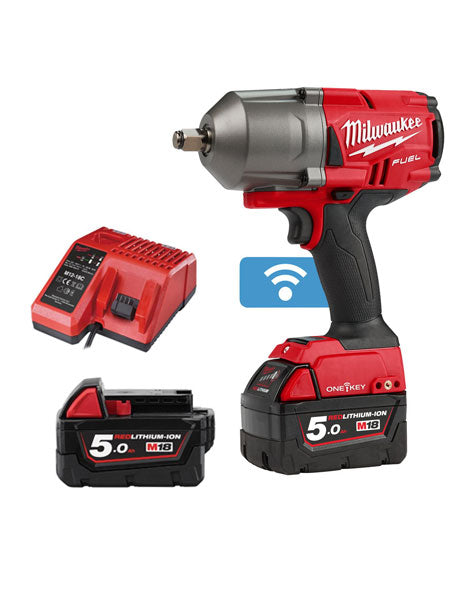 "Milwaukee M18ONEFHIWF12-502X FUEL One Key 1/2"" Impact Wrench 2 x 5amh Batteries Charger."
