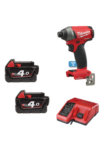 Milwaukee M18ONEID-402 18V One Key Fuel Impact Driver 2 x 4amh Batteries Charger