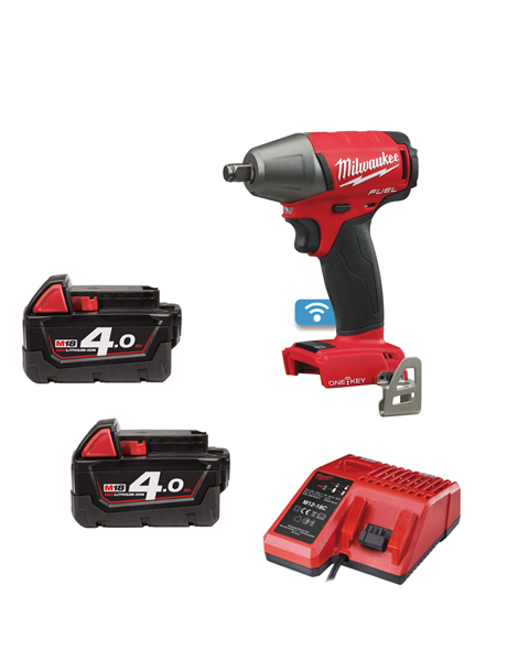 "Milwaukee M18ONEIWF12-402 M18 ONE KEY FUEL 1/2"" Impact Wrench with Friction Ring 2 x 4amh Batteries Charger"
