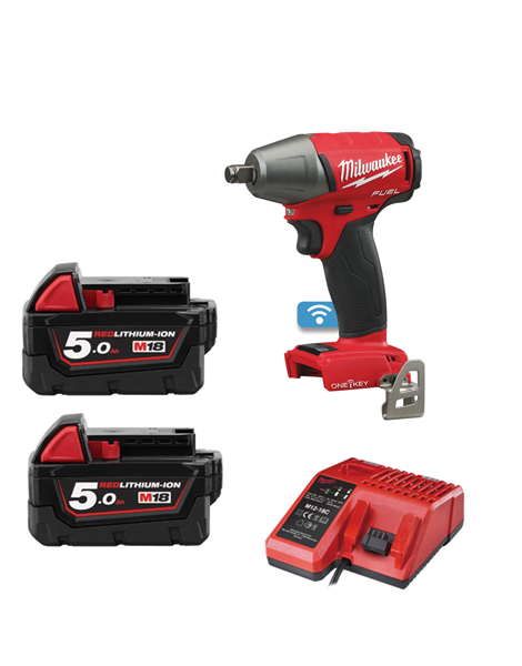 "Milwaukee M18ONEIWF12-502 M18 ONE KEY FUEL 1/2"" Impact Wrench with Friction Ring 2 x 5amh Batteries Charger"