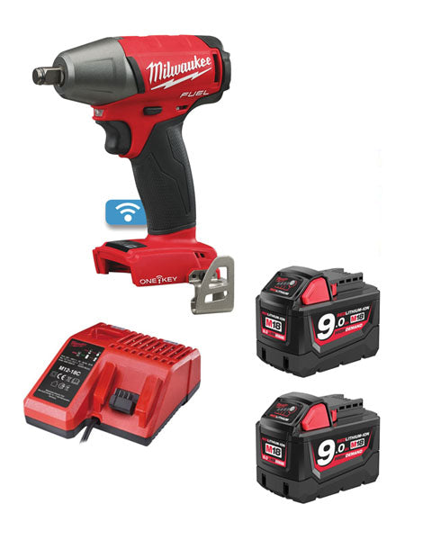 "Milwaukee M18ONEIWF12-902 M18 ONE KEY FUEL 1/2"" Impact Wrench with Friction Ring 2 x 9amh Batteries Charger"