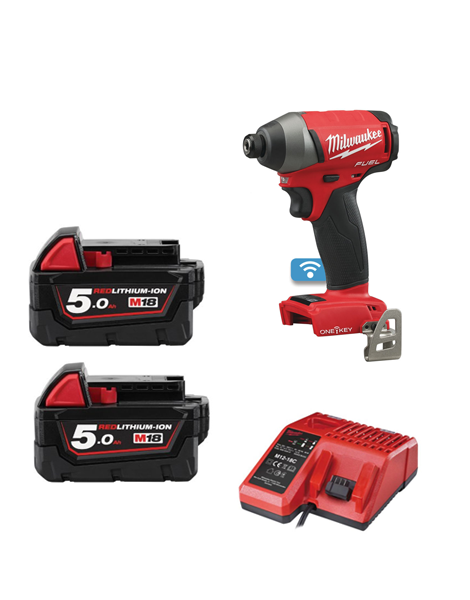 Milwaukee M18ONEID-502 18V One Key Fuel Impact Driver 2 x 5amh Batteries Charger