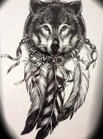 Indian Wolf Temporary Tattoo