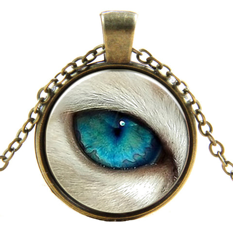 Blue Wolf Eye Pendant Necklace