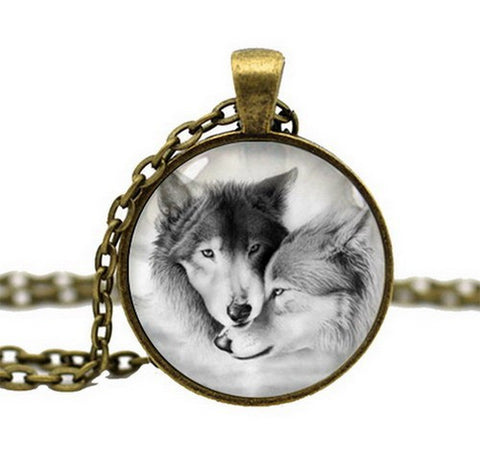 Lovely Couple Gray Wolf Pendant