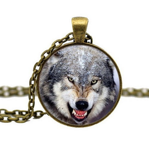 Growling Gray Wolf Pendant