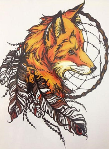 Fox and Feather Temporary Tattoo