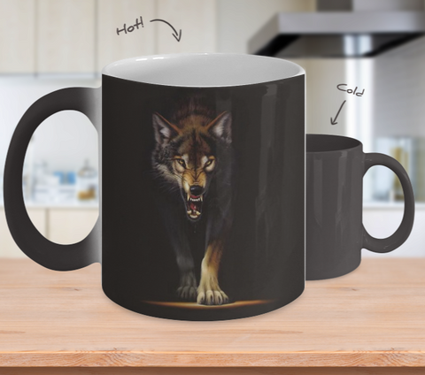 Fierce Wolf Heat Sensitive Mug