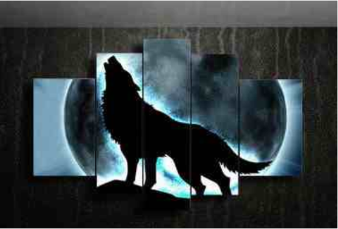 Full Moon Howling Wolf Oil Painting