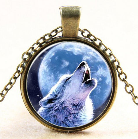 Full Moon Howling Wolf Necklace