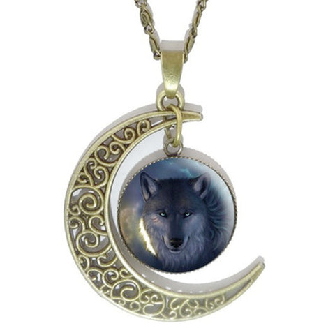 Fierce Half Moon Wolf Pendant