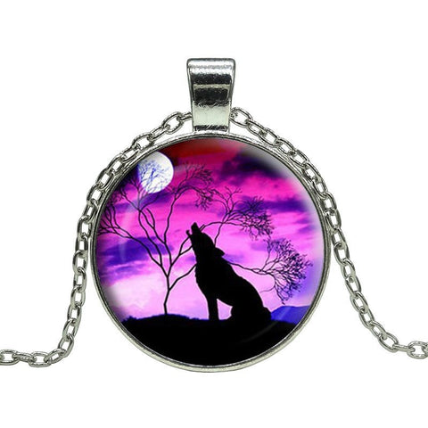 Crimson Night Wolf Howl Pendant