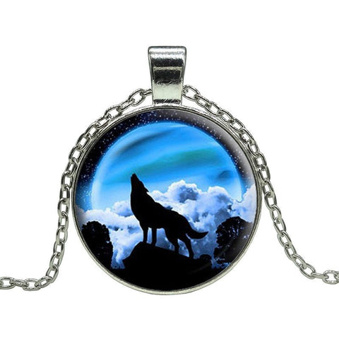 Night Moon Wolf Howl Pendant