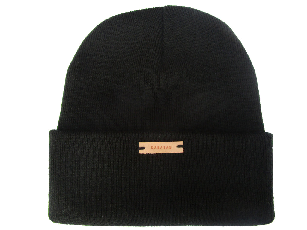 Dabatag Black Beanie Hat. Hand stamped leather dabatag label.