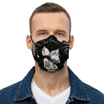 Philodendron Pink Princess Face mask (Black)