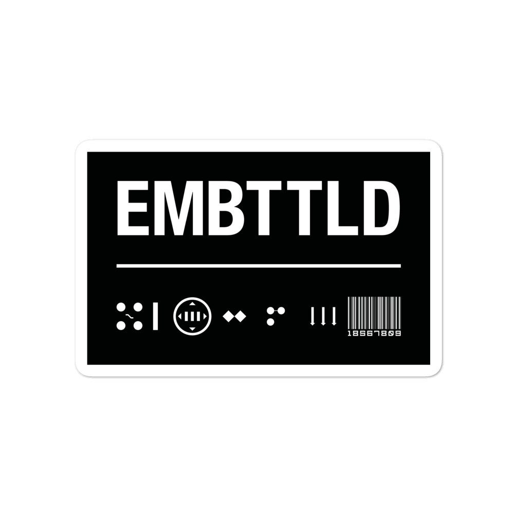 EMBATTLED ID Black Bubble-free stickers Embattled Clothing 4x4