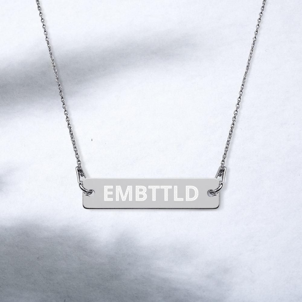 EMBTTLD Engraved Silver Bar Chain Necklace Embattled Clothing Black Rhodium coating 16""