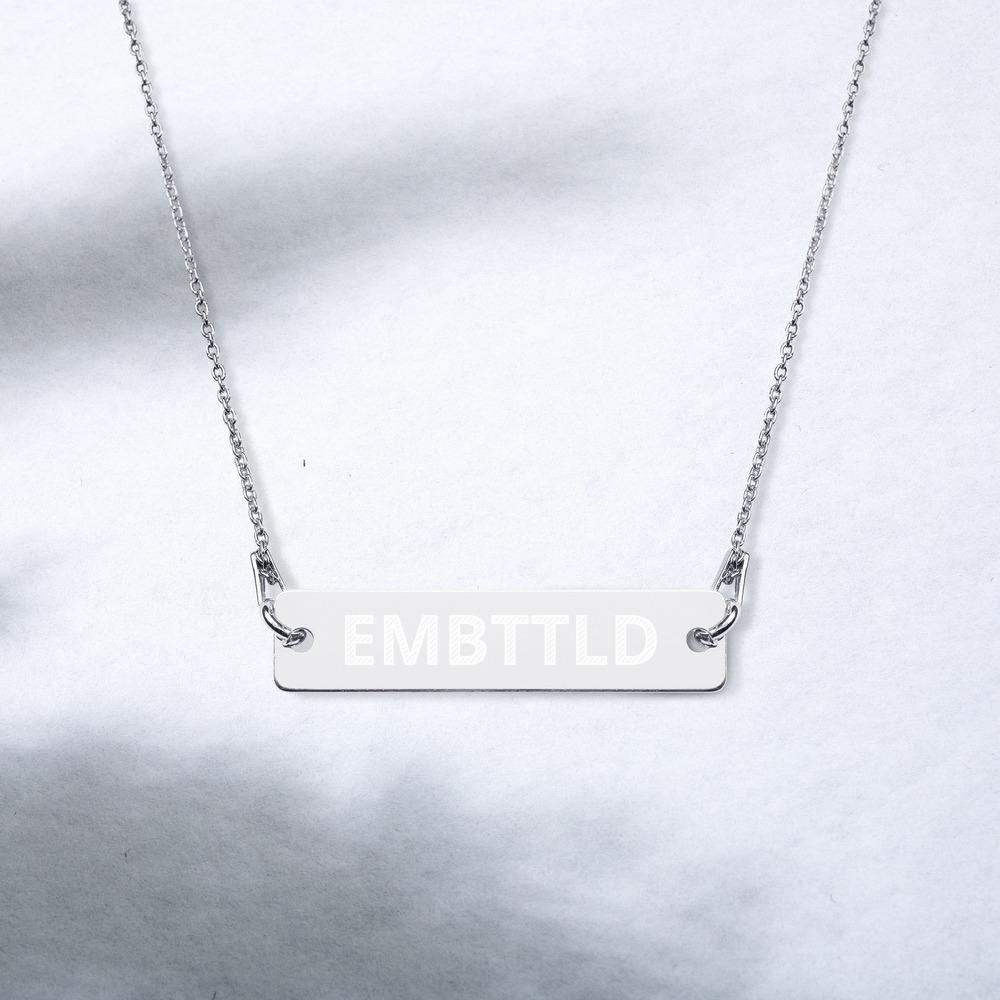 EMBTTLD Engraved Silver Bar Chain Necklace Embattled Clothing White Rhodium coating 16""