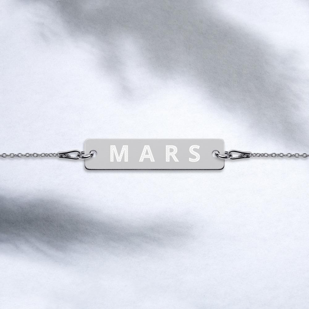 MARS Engraved Silver Bar Chain Bracelet Embattled Clothing Black Rhodium coating 7""