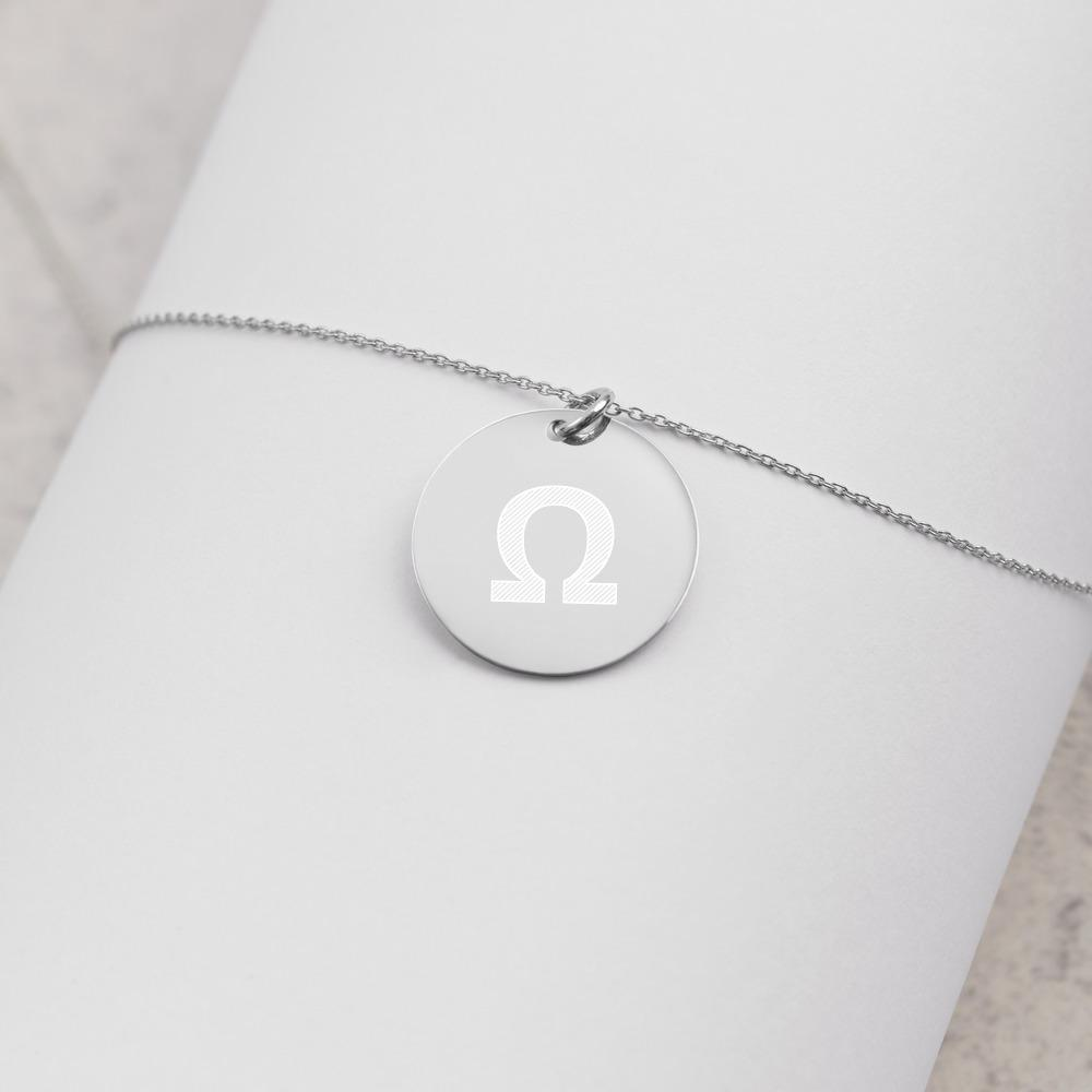 Ohm Energy Engraved Silver Disc Necklace Embattled Clothing