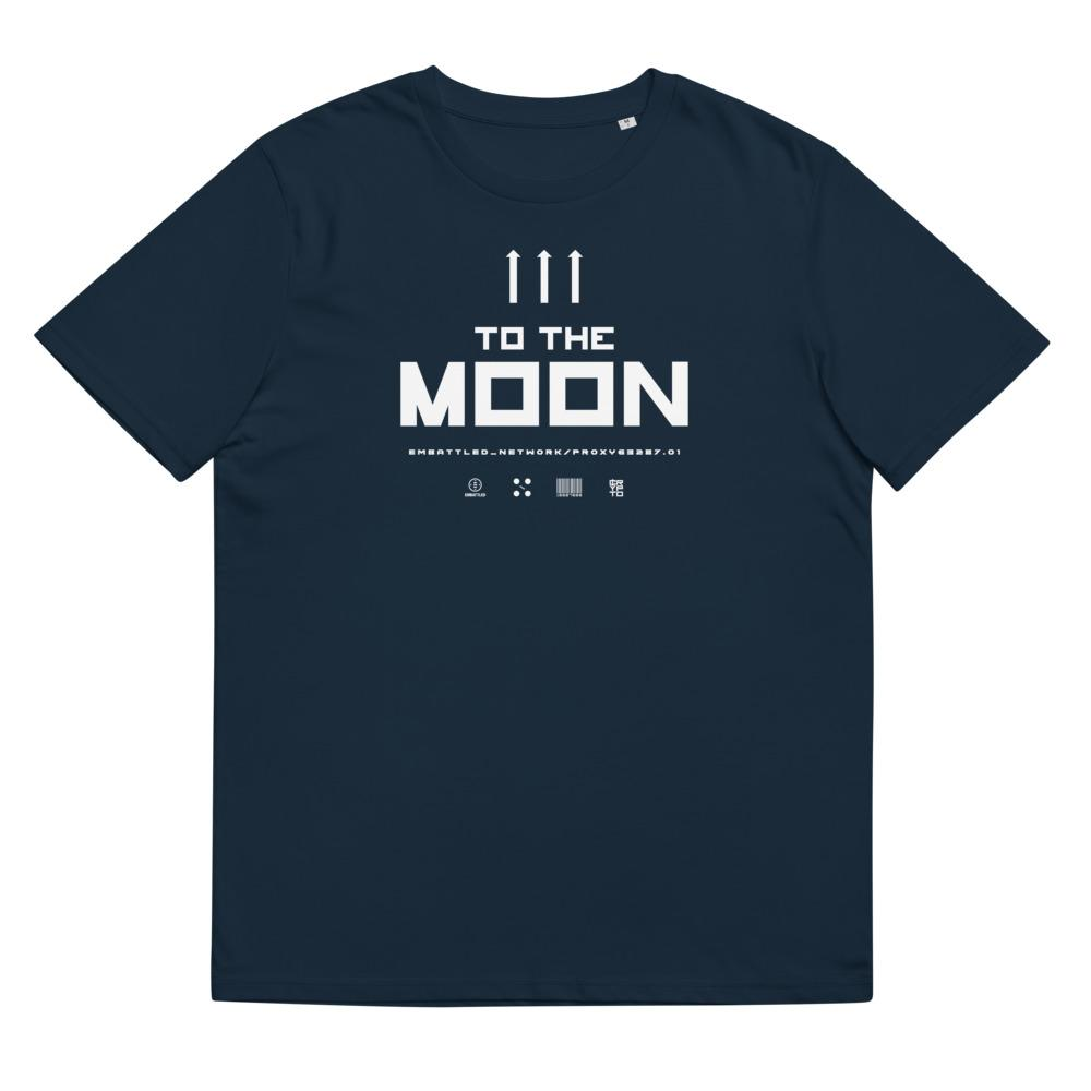 TO THE MOON 2.0 organic cotton t-shirt Embattled Clothing French Navy S