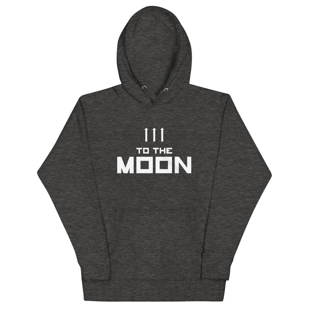 TO THE MOON Hoodie Embattled Clothing Charcoal Heather S