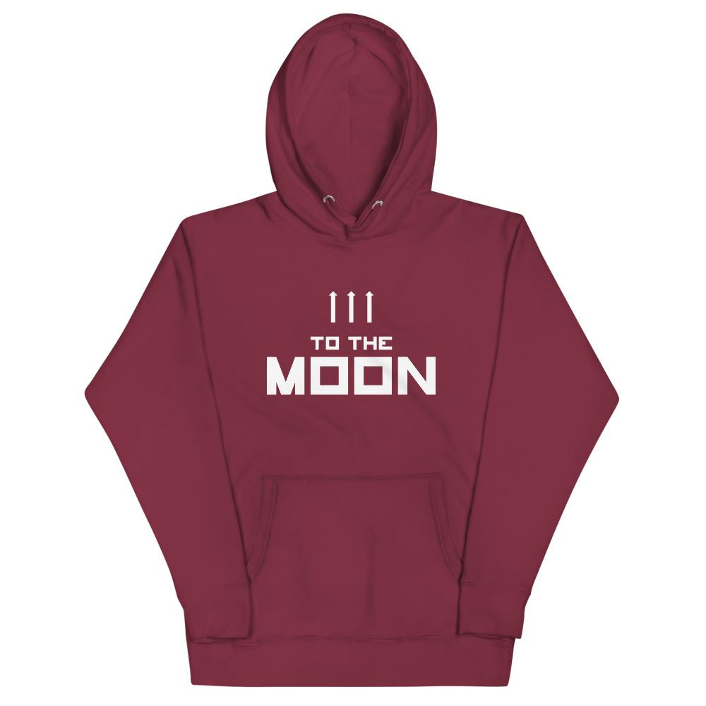 TO THE MOON Hoodie Embattled Clothing Maroon S