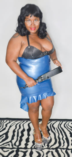 Latex Peplum Pencil Skirt
