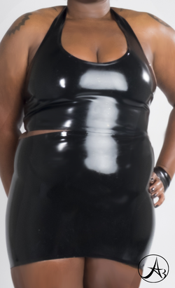Latex Mini Pencil Skirt