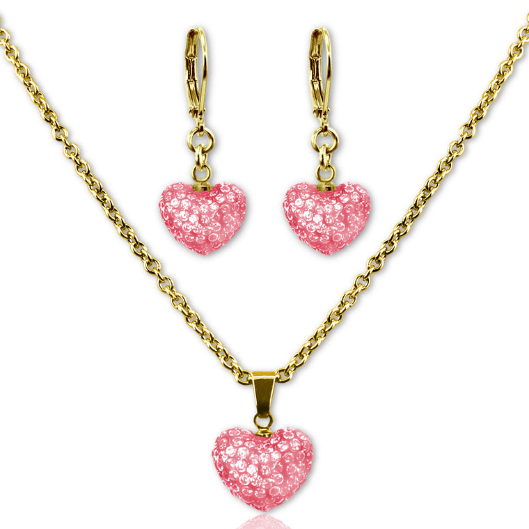 Pink Crystal Heart Earrings and Necklace Jewelry Set Girls Necklace - Kids Jewelry A Touch of Dazzle Girls Jewelry